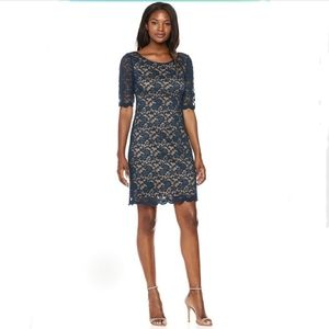Connected Apparel Elbow Sleeve Sheath Lace Dress
